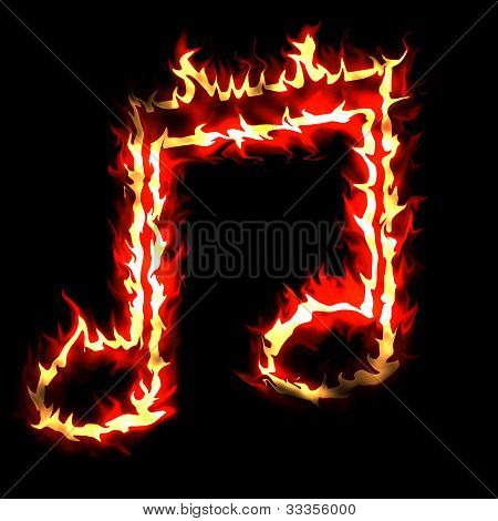 Burning Musical Sign Fire On Black Background