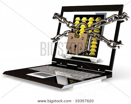 Pc Security. Laptop With Chain And Lock.