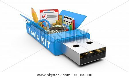 Usb Flash Drive With Office Tools And Money
