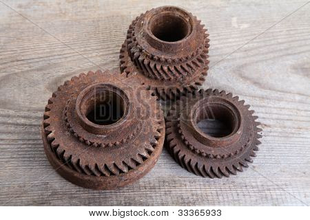 Rusty Iron Gear Wheels On A  Boards