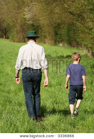 Father And Son On Country Walk