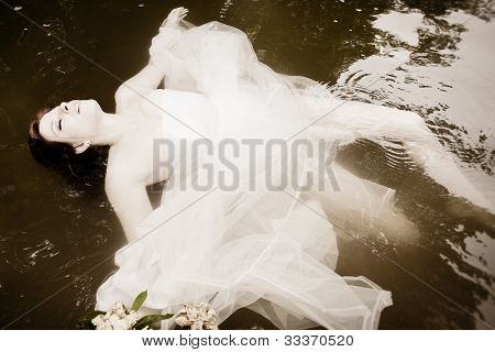 Bride Floating In The Water