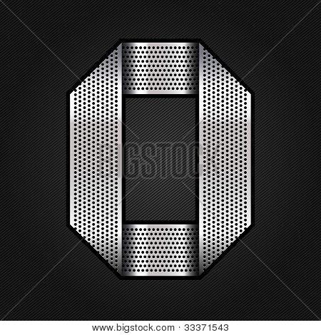 Number metal chrome ribbon - 0 - zero
