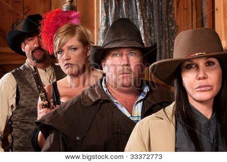 Cowboy In Group At Bar