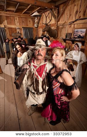 Trapper And Showgirl In Saloon
