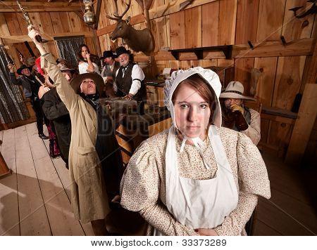 Shy Woman In Rowdy Tavern