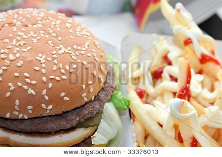 Hamburger and french fries with catchup and maionese