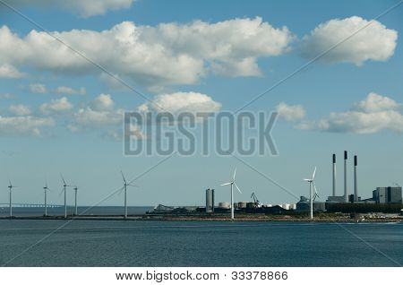 Wind Turbines And Power Station