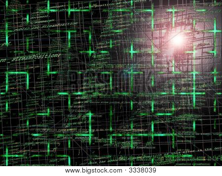 Green Abstract Programming Code Background