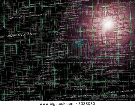 Greyish Red Abstract Programming Code Background Pattern With Grid