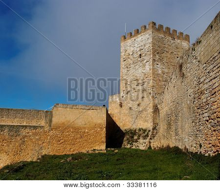 Inner court of Castello di Lombardia medieval castle in Enna Sicily Italy