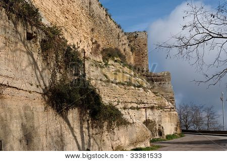Wall of Castello di Lombardia medieval castle in Enna Sicily Italy