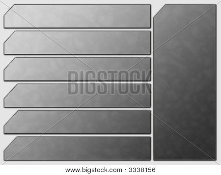 Grey Futuristic Website Navigation Stone Buttons