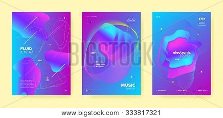 poster of Blue Trance Music Poster. Wave Gradient Blend. Night Club Festival. Dj Concert. Neon Techno Music Po