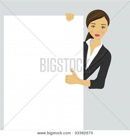 Smiling young business girl showing signboard