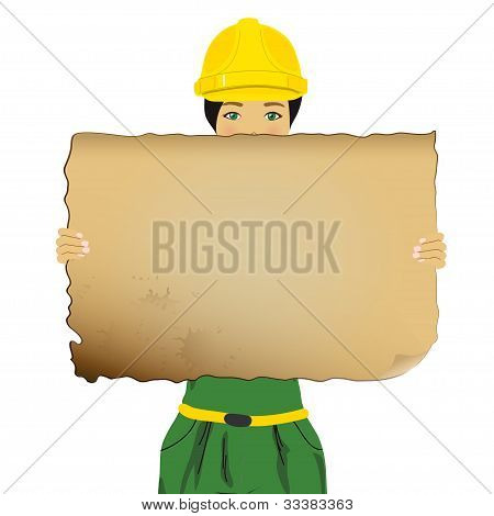 Constructor woman holding an empty board