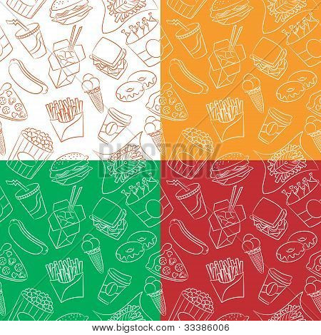 Junk Food Seamless Pattern Set