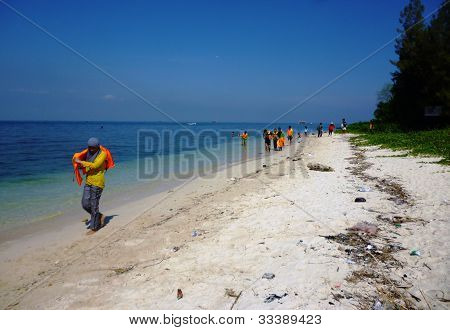 practice rescue on the panjang beach