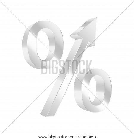 Símbolo de porcentaje de crecimiento. Ilustración de Vector