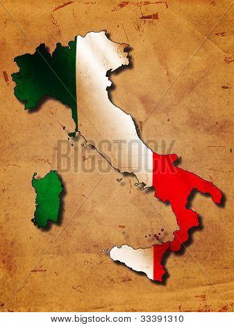 Italian Map With Flag