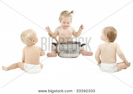 Baby Feeding Friends And Playing Role Game Over White