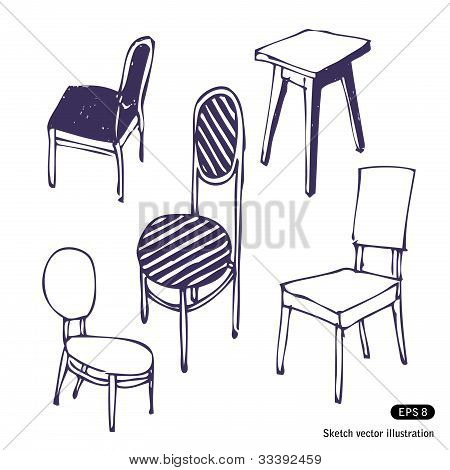 Hand-drawn chairs. Isolated
