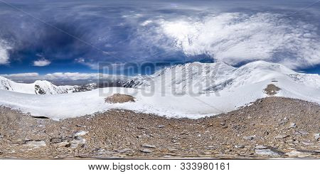 poster of Spherical Panorama Of The Pamir Mountain. Slope Of Lenin Peak To An Altitude Of 5900 Meters. Spheric