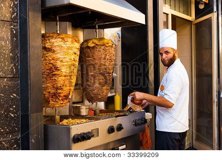 Sidewalk Grill Chicken Lamb Kebab Meat Cook
