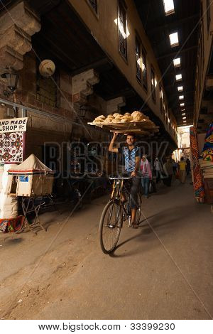 Bicycle Bread Delivery Souq Carrying Head