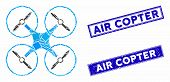 Mosaic Air Copter Pictogram And Rectangular Seal Stamps. Flat Vector Air Copter Mosaic Pictogram Of  poster