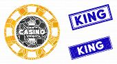 Mosaic Royal Casino Chip Pictogram And Rectangle Stamps. Flat Vector Royal Casino Chip Mosaic Pictog poster