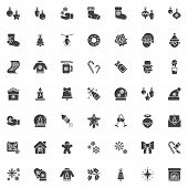 Christmas Decoration Vector Icons Set, Modern Solid Symbol Collection, Filled Style Pictogram Pack.  poster