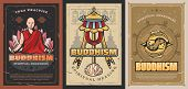 Buddhism Religion Posters With Vector Religious Symbols Of Buddhist. Tibetan Monk Prayer Wheels, Bud poster