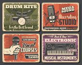 Musical Instrument Shop, Music And Sound Recording Studio Vector Design. Microphones, Drum And Saxop poster