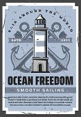 Sea Boat Anchors, Nautical Lighthouse And Ocean Sailing Ships With Marine Ropes Vector Design. Saili poster