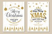 Set Of Merry Christmas And 2020 Happy New Year Poster, Flyer, Greeting Cards. Set Quotes With Holly, poster