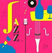 Jazz Music Festival Poster With Violoncello And Microphone Flat Vector Illustration Design. Colorful poster