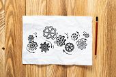Rotating Gears Pencil Hand Drawn. Mechanical Technology And Machine Engineering Symbol. Engine Mecha poster