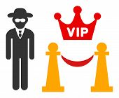 Vip Access Raster Icon. Flat Vip Access Pictogram Is Isolated On A White Background. poster