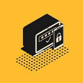 Isometric Multi Factor, Two Steps Authentication Icon Isolated On Yellow Background. Vector Illustra poster