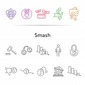 Smash Line Icon Set. Recession, Fail, Debt. Bankruptcy Concept. Can Be Used For Topics Like Crisis,  poster