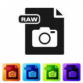 Black Raw File Document. Download Raw Button Icon Isolated On White Background. Raw File Symbol. Set poster