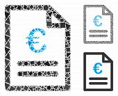 Euro Invoice Mosaic Of Inequal Parts In Various Sizes And Shades, Based On Euro Invoice Icon. Vector poster