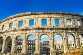 Ancient Heritage In Pula, Istria, Croatia. Arches Of Monumental Ancient Roman Arena. Detail Of Histo poster