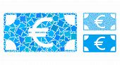Euro Banknote Mosaic Of Joggly Items In Various Sizes And Shades, Based On Euro Banknote Icon. Vecto poster