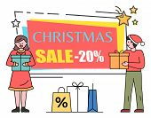 Christmas Sale 20 Percent Off Reduction Off Price Vector. Banner With People Holding Gifts Bought On poster