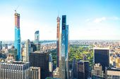New York, Usa - May 17, 2019: Central Park Aerial View, Manhattan, New York, Park Is Surrounded By S poster