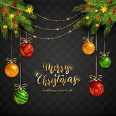 Black Background With Fir Tree Branches, Christmas Balls And Stars. Golden Lettering Merry Christmas poster