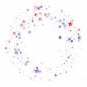 American Patriot Day Stars Background. Holiday Confetti In Usa Flag Colors For Presidents Day. Navy  poster