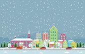 Winter Snow In Copenhagen City Cityscape Skyline Landmark Building Illustration poster